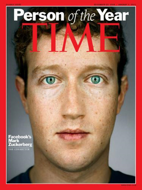 "Mark Zuckerberg, Founder and CEO of Facebook was named the ""Time Man of the"